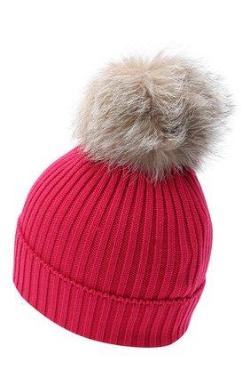 Детского шерстяная шапка с меховым помпоном MONCLER фуксия цвета, арт. F2-954-3B711-10-04S01 | Фото 2