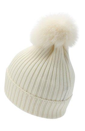 Детского шерстяная шапка с меховым помпоном MONCLER черно-белого цвета, арт. F2-954-3B713-11-04S01 | Фото 2
