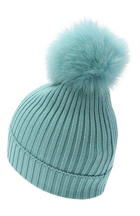 Детского шерстяная шапка с меховым помпоном MONCLER голубого цвета, арт. F2-954-3B713-11-04S01 | Фото 2