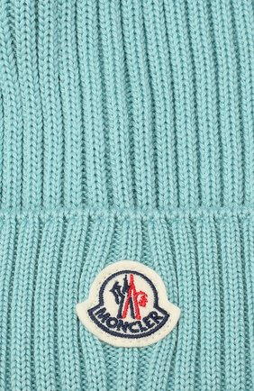 Детского шерстяная шапка с меховым помпоном MONCLER бирюзового цвета, арт. F2-954-3B713-11-04S01   Фото 3 (Материал: Шерсть)
