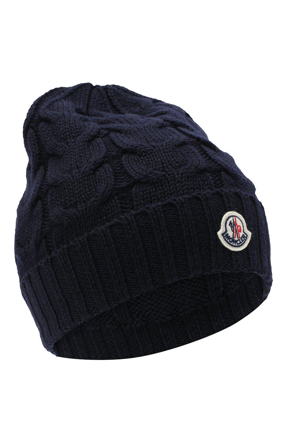 Детского шерстяная шапка MONCLER темно-синего цвета, арт. F2-954-3B715-20-04S02 | Фото 1 (Материал: Шерсть)