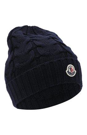 Детского шерстяная шапка MONCLER темно-синего цвета, арт. F2-954-3B715-20-04S02 | Фото 1
