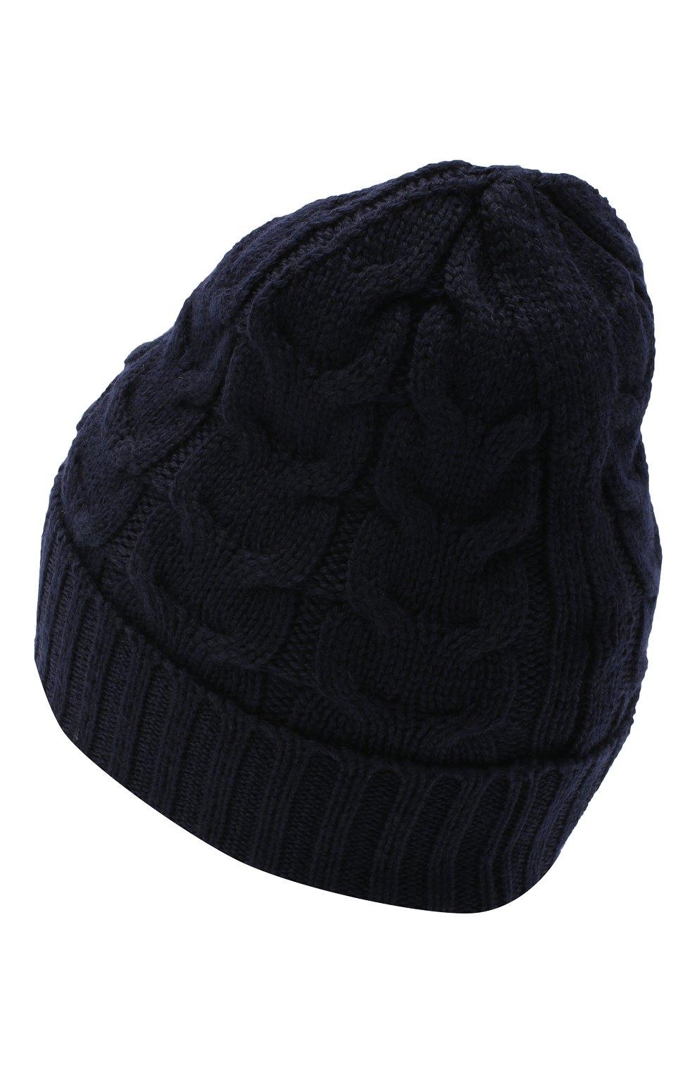 Детского шерстяная шапка MONCLER темно-синего цвета, арт. F2-954-3B715-20-04S02 | Фото 2 (Материал: Шерсть)