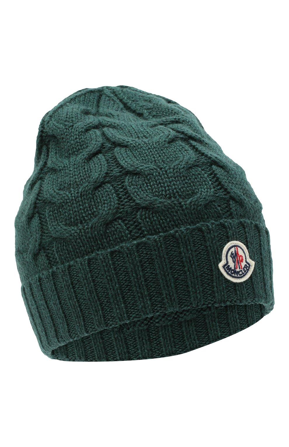 Детского шерстяная шапка MONCLER темно-зеленого цвета, арт. F2-954-3B715-20-04S02 | Фото 1 (Материал: Шерсть)