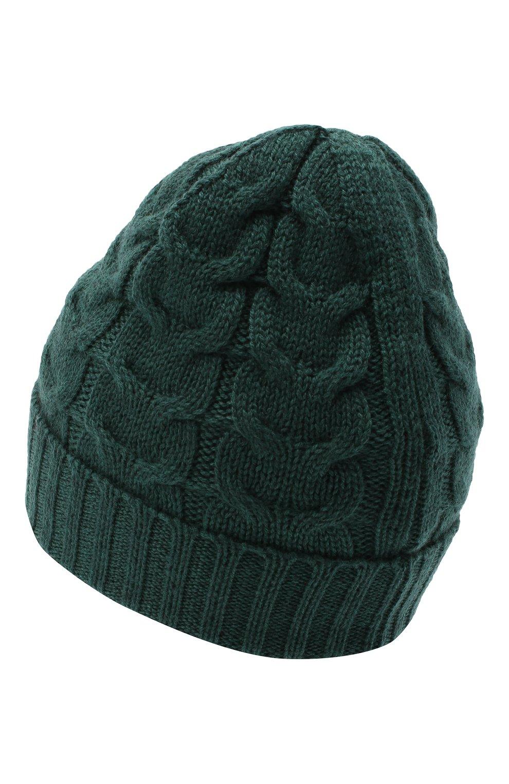 Детского шерстяная шапка MONCLER темно-зеленого цвета, арт. F2-954-3B715-20-04S02 | Фото 2 (Материал: Шерсть)