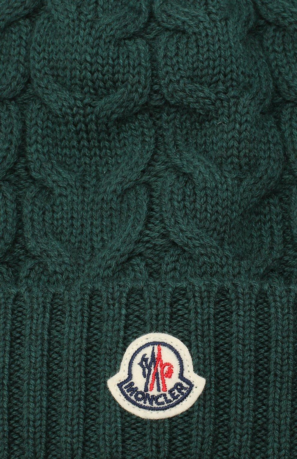 Детского шерстяная шапка MONCLER темно-зеленого цвета, арт. F2-954-3B715-20-04S02 | Фото 3 (Материал: Шерсть)