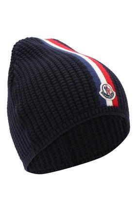 Детского шерстяная шапка MONCLER темно-синего цвета, арт. F2-954-9Z703-20-A9364 | Фото 1