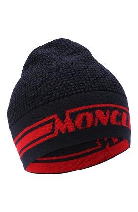 Детского шерстяная шапка MONCLER темно-синего цвета, арт. F2-954-9Z704-20-A9366 | Фото 1