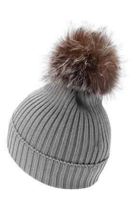 Детского шерстяная шапка с меховым помпоном MONCLER светло-серого цвета, арт. F2-954-3B711-10-04S01 | Фото 2