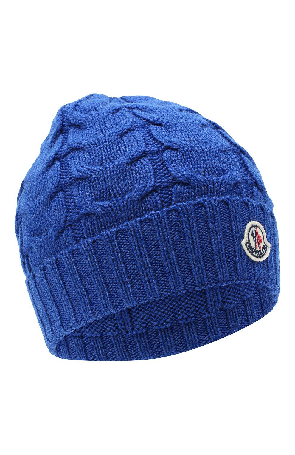 Детского шерстяная шапка MONCLER синего цвета, арт. F2-954-3B715-20-04S02 | Фото 1 (Материал: Шерсть)
