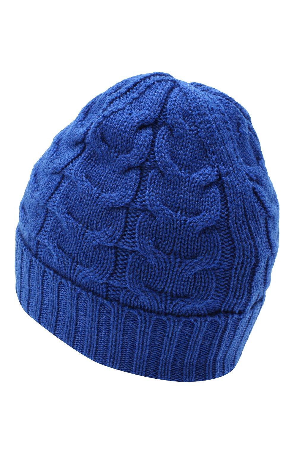 Детского шерстяная шапка MONCLER синего цвета, арт. F2-954-3B715-20-04S02 | Фото 2 (Материал: Шерсть)