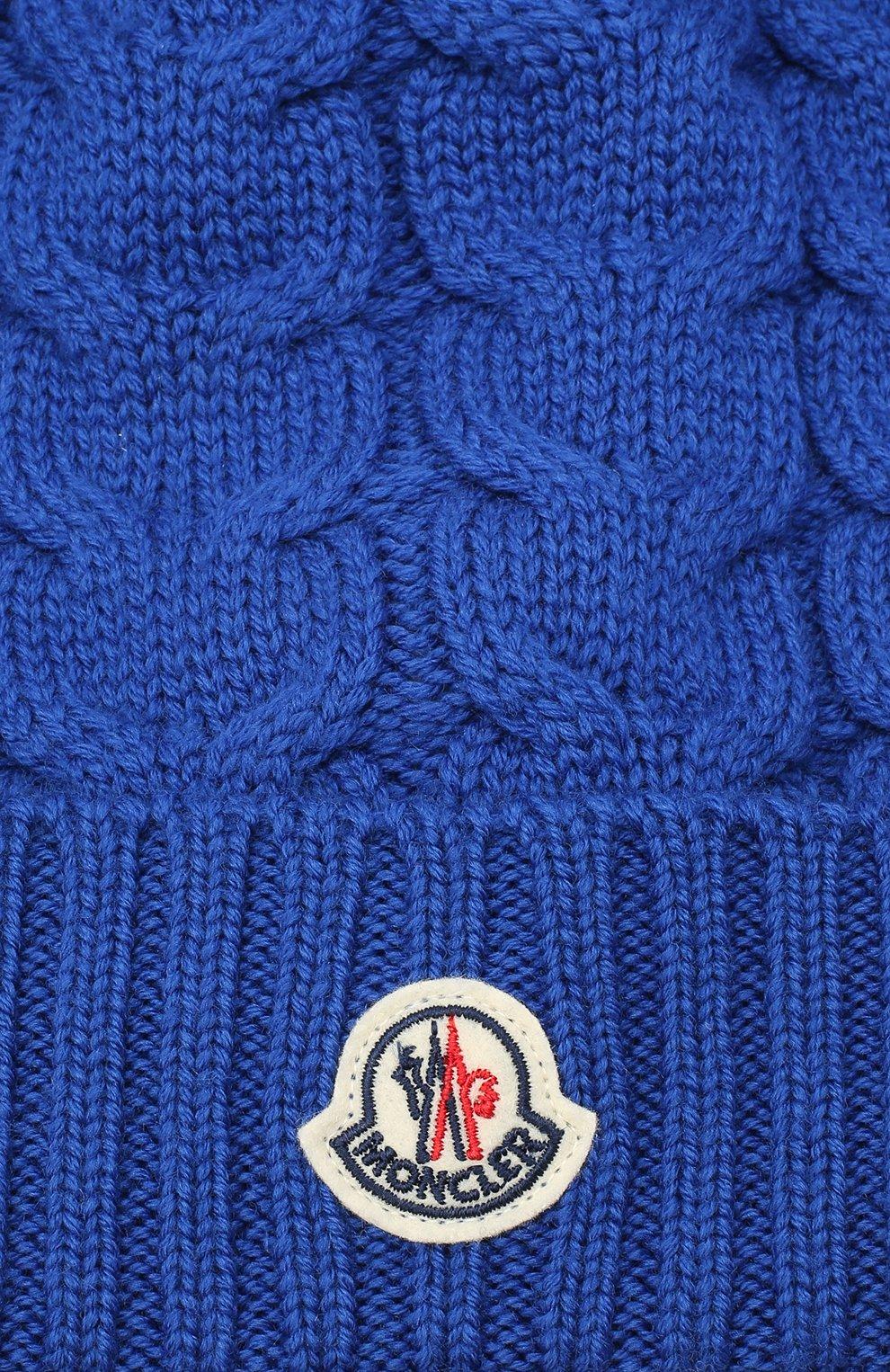 Детского шерстяная шапка MONCLER синего цвета, арт. F2-954-3B715-20-04S02 | Фото 3 (Материал: Шерсть)