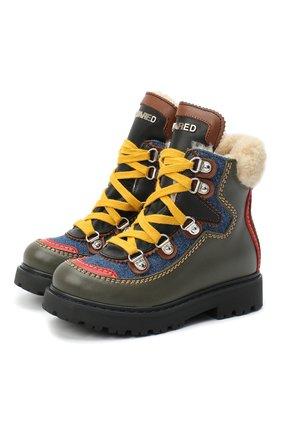 Детские кожаные ботинки DSQUARED2 хаки цвета, арт. 65191/S0FTY/28-35 | Фото 1