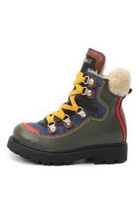 Детские кожаные ботинки DSQUARED2 хаки цвета, арт. 65191/S0FTY/28-35 | Фото 2