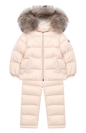 Детского комплект из куртки и брюк MONCLER светло-розового цвета, арт. F2-951-1F504-02-53079 | Фото 1