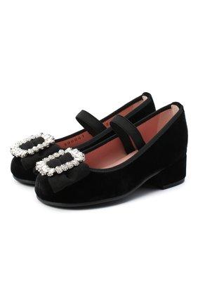 Детские туфли PRETTY BALLERINAS черного цвета, арт. 49.116/AFR0DITE-D0/ANGELIS   Фото 1