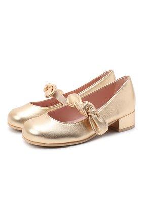 Детские кожаные туфли PRETTY BALLERINAS золотого цвета, арт. 49.118/AMI/AMI | Фото 1