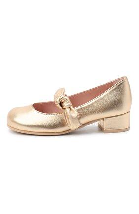 Детские кожаные туфли PRETTY BALLERINAS золотого цвета, арт. 49.118/AMI/AMI | Фото 2