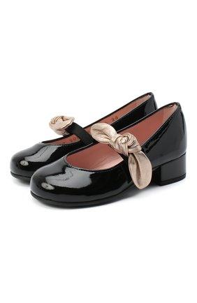Детские кожаные туфли PRETTY BALLERINAS черного цвета, арт. 49.118/SHADE/AMI | Фото 1