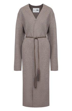 Женское пальто из шерсти и кашемира MANZONI24 светло-коричневого цвета, арт. 20M742-DB1L8/38-46   Фото 1