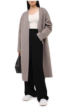 Женское пальто из шерсти и кашемира MANZONI24 светло-коричневого цвета, арт. 20M742-DB1L8/38-46   Фото 2