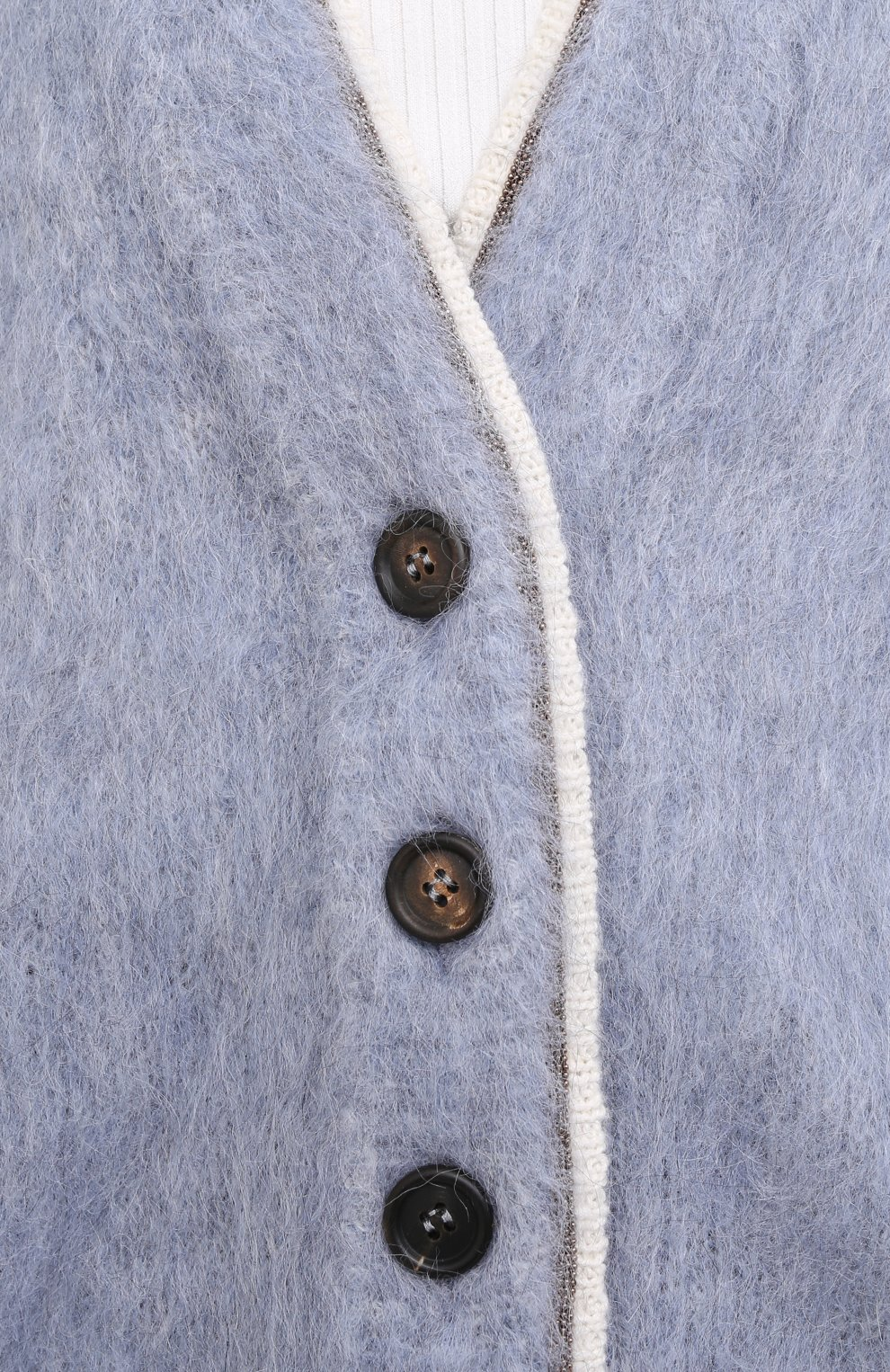 Женский кардиган из шерсти и кашемира BRUNELLO CUCINELLI голубого цвета, арт. M8U590826   Фото 6