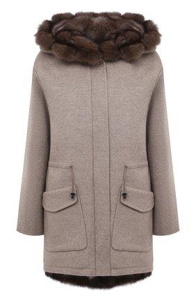 Женское пальто с меховой подкладкой MANZONI24 бежевого цвета, арт. 20M495-ZDB1/38-46 | Фото 1