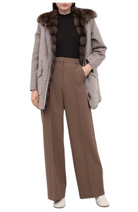 Женское пальто с меховой подкладкой MANZONI24 бежевого цвета, арт. 20M495-ZDB1/38-46 | Фото 2