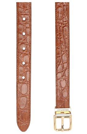 Женский ремень из кожи каймана DOLCE & GABBANA коричневого цвета, арт. BE1351/A2V84/CYAC | Фото 2 (Материал: Экзотическая кожа, Кожа)
