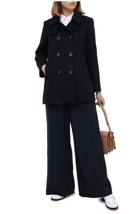 Женское шерстяное пальто EMPORIO ARMANI синего цвета, арт. 0NB50T/02650   Фото 2