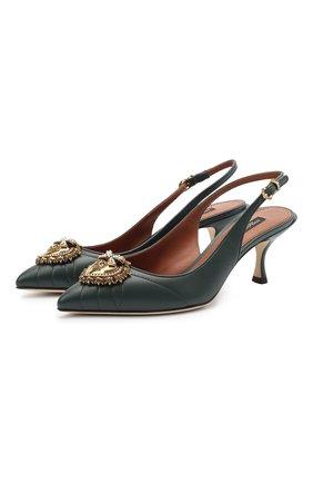 Женская кожаные туфли devotion DOLCE & GABBANA зеленого цвета, арт. CG0391/AV967   Фото 1