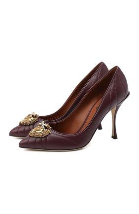 Женские кожаные туфли devotion DOLCE & GABBANA бордового цвета, арт. CD1471/AV967   Фото 1