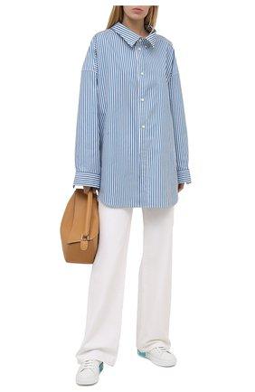 Женские кожаные кеды portofino DOLCE & GABBANA голубого цвета, арт. CK1544/AX615 | Фото 2