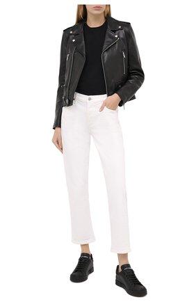 Женские кожаные кеды portofino DOLCE & GABBANA черного цвета, арт. CK1802/AW113 | Фото 2