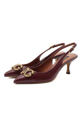 Женская кожаные туфли DOLCE & GABBANA бордового цвета, арт. CG0448/AW562 | Фото 1