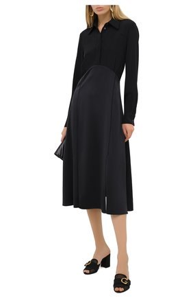 Женские текстильные мюли DOLCE & GABBANA черного цвета, арт. CR1078/AW020   Фото 2