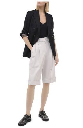 Женская кожаные монки TOD'S черно-белого цвета, арт. XXW59C0DM20SHA   Фото 2