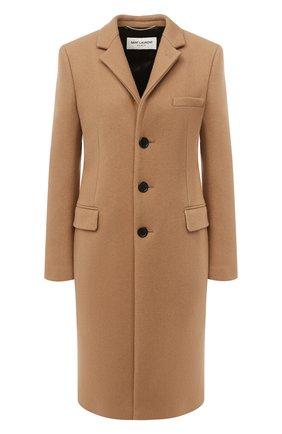 Женское кашемировое пальто SAINT LAURENT бежевого цвета, арт. 517798/Y143V   Фото 1