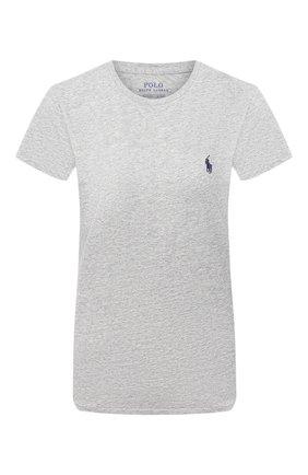 Женская хлопковая футболка POLO RALPH LAUREN серого цвета, арт. 211734144   Фото 1