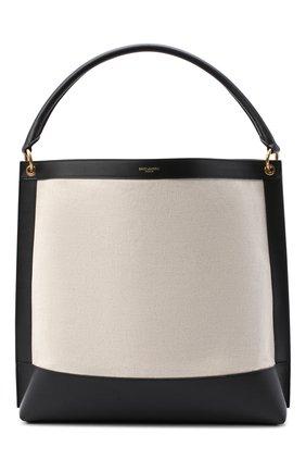 Женский сумка-тоут tag SAINT LAURENT черно-белого цвета, арт. 634786/H9P1W | Фото 1