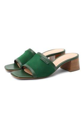 Женские замшевые мюли GIANVITO ROSSI зеленого цвета, арт. G19530.45CU0.VTMLEAL | Фото 1