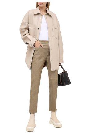 Женские кожаные брюки ISABEL MARANT ETOILE бежевого цвета, арт. PA1715-20A016E/TEA | Фото 2