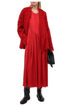 Женское платье UMA WANG красного цвета, арт. A0 M UP5017 | Фото 2 (Длина Ж (юбки, платья, шорты): Миди; Женское Кросс-КТ: Платье-одежда; Стили: Минимализм; Случай: Повседневный; Материал внешний: Купро)