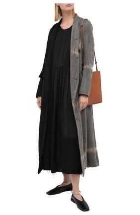 Женское платье UMA WANG черного цвета, арт. A0 M UP5017 | Фото 2 (Длина Ж (юбки, платья, шорты): Миди; Женское Кросс-КТ: Платье-одежда; Стили: Минимализм; Случай: Повседневный; Материал внешний: Купро)