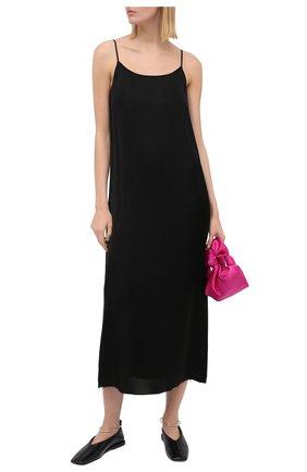 Женское платье UMA WANG черного цвета, арт. A0 M UP5094 | Фото 2 (Длина Ж (юбки, платья, шорты): Миди; Женское Кросс-КТ: Платье-одежда; Стили: Минимализм; Случай: Повседневный; Материал внешний: Купро)