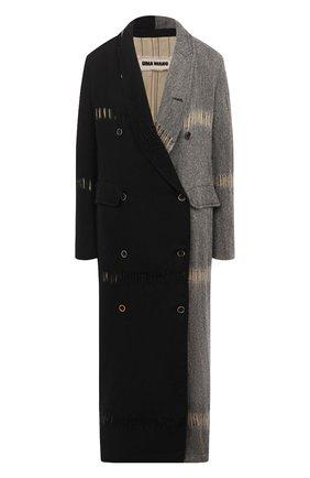 Женское шерстяное пальто UMA WANG черного цвета, арт. A0 M UP8001 | Фото 1 (Рукава: Длинные; Материал подклада: Купро, Вискоза; Материал внешний: Шерсть; Стили: Кэжуэл; Длина (верхняя одежда): Длинные; 1-2-бортные: Двубортные)