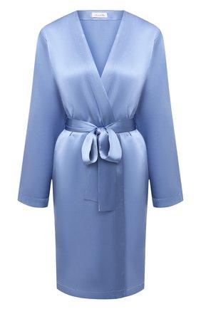 Женский шелковый халат LUNA DI SETA голубого цвета, арт. VLST08009 | Фото 1