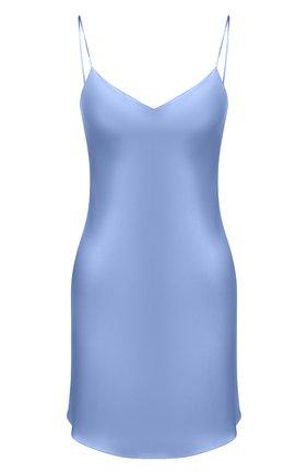 Женская шелковая сорочка LUNA DI SETA голубого цвета, арт. VLST08008   Фото 1 (Материал внешний: Шелк; Длина Ж (юбки, платья, шорты): Мини; Рукава: С открытыми плечами)