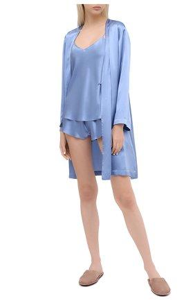 Женские шелковые шорты LUNA DI SETA голубого цвета, арт. VLST08006 | Фото 2