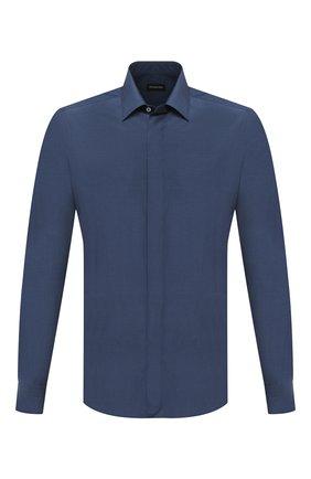 Мужская сорочка из шелка и хлопка ERMENEGILDO ZEGNA синего цвета, арт. 801454/9YC0CA | Фото 1